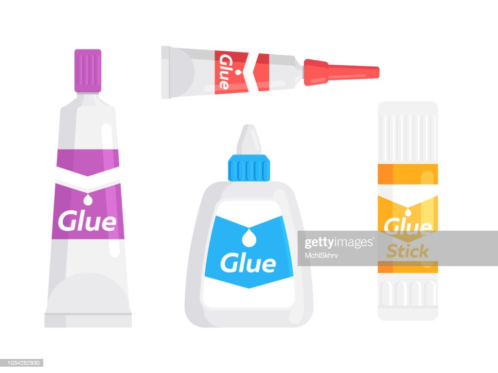 Glue tube, bottle and stick
