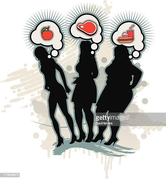 ilustraciones, imágenes clip art, dibujos animados e iconos de stock de gula opinión, es lo que comemos-nutrition - bulimia