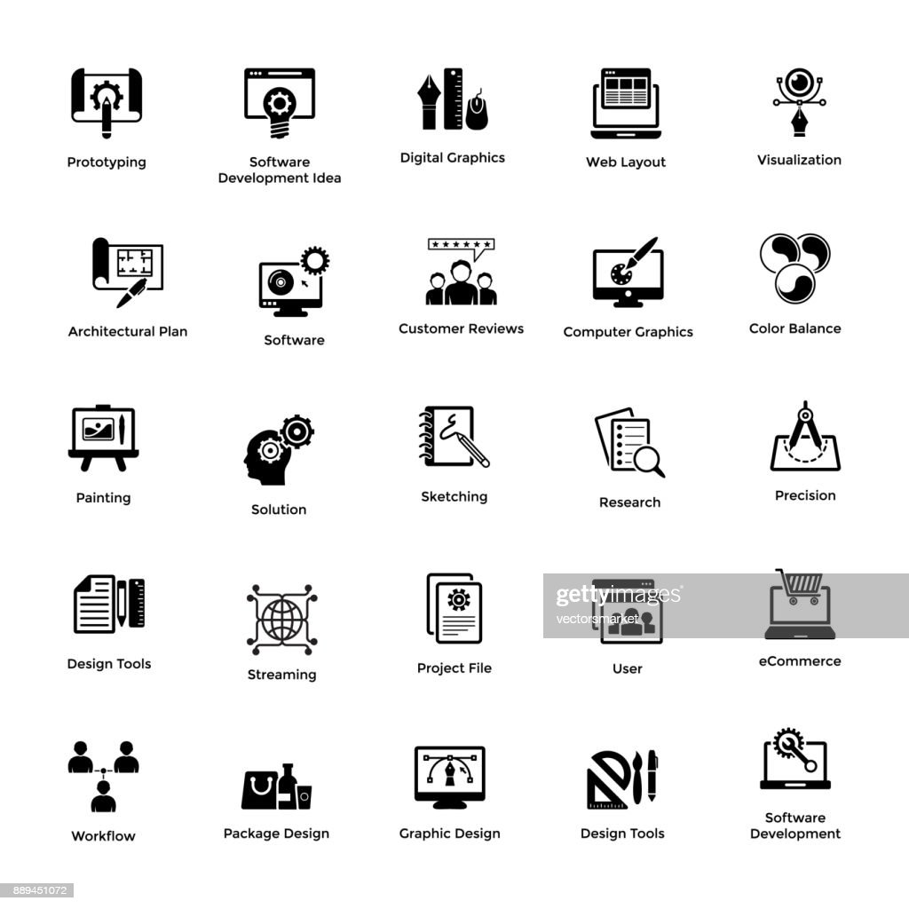 Glyph Icon Design Set Web and Graphic Designing 1
