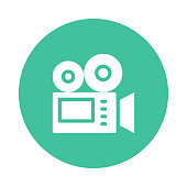 VIDEO CAMERA glyphs flat circle icon
