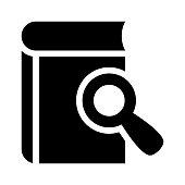 BOOK SEARCH Glyphs Vector Icon