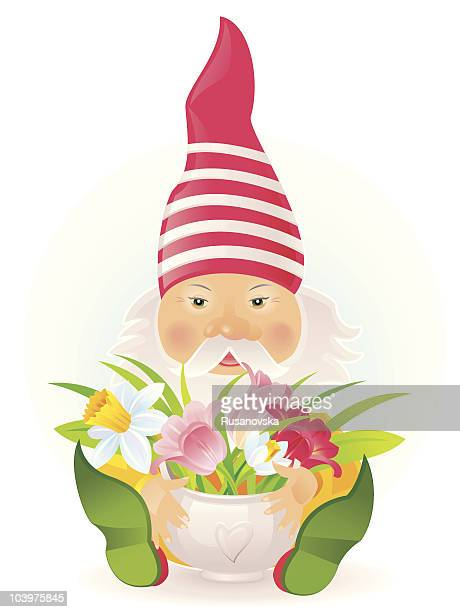 Gnome and Bouquet of Spring Flowers