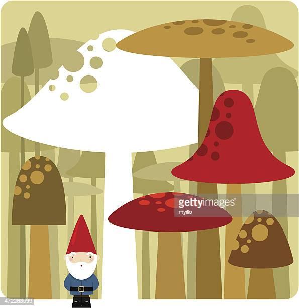gnome and mushrooms - gnome stock illustrations