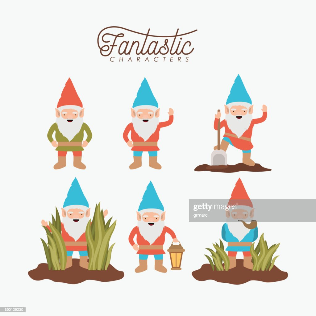 gnome fantastic character set with costume and icons on white background