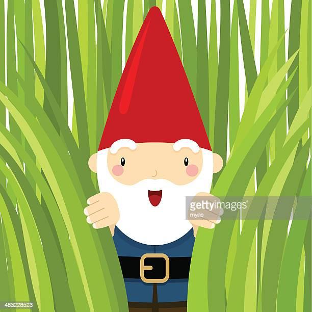 gnome in the garden. peeking grass - gnome stock illustrations