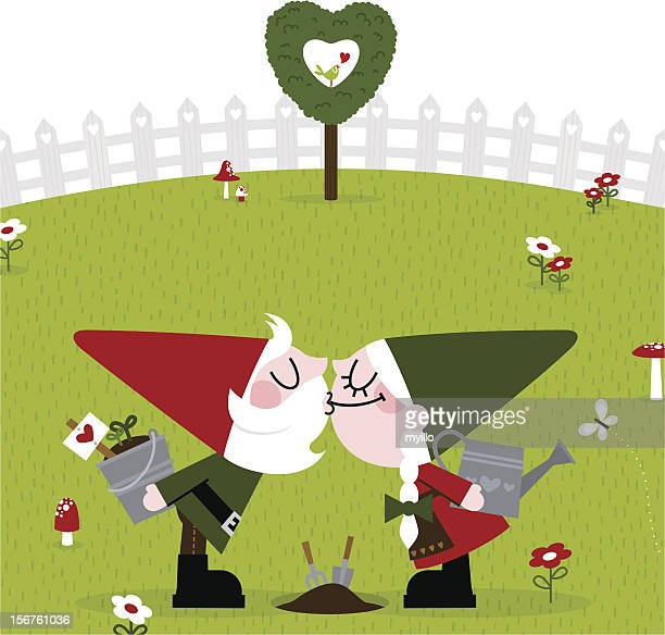 gnome kiss cute garden gardener retro love couple spring - garden gnome stock illustrations