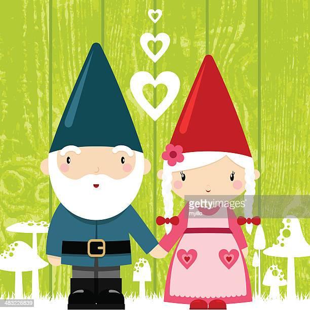 gnome love. couple, grandparents, st valentine´s day illustration,vector - gnome stock illustrations