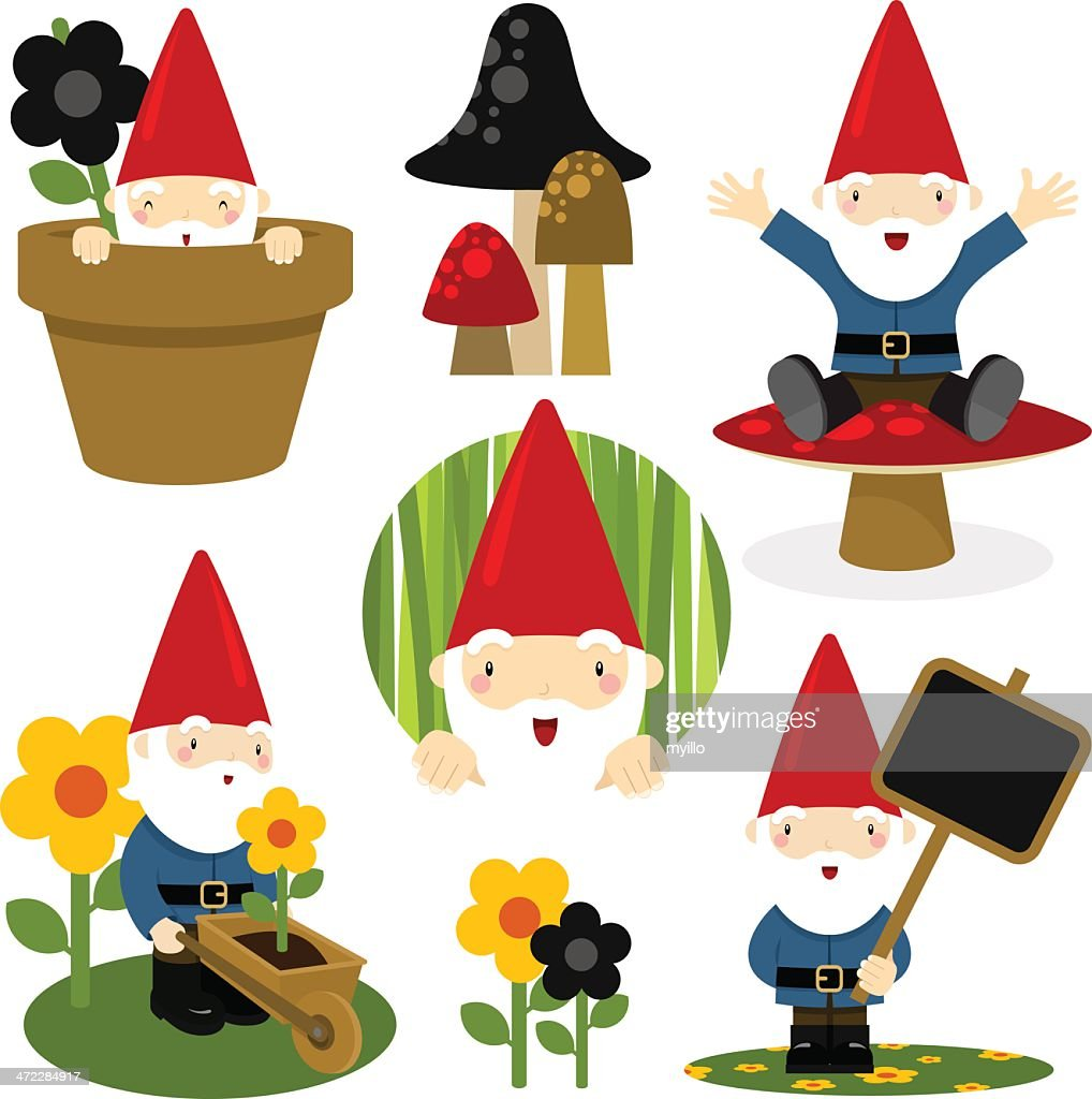 Gnome set. Gardening cute