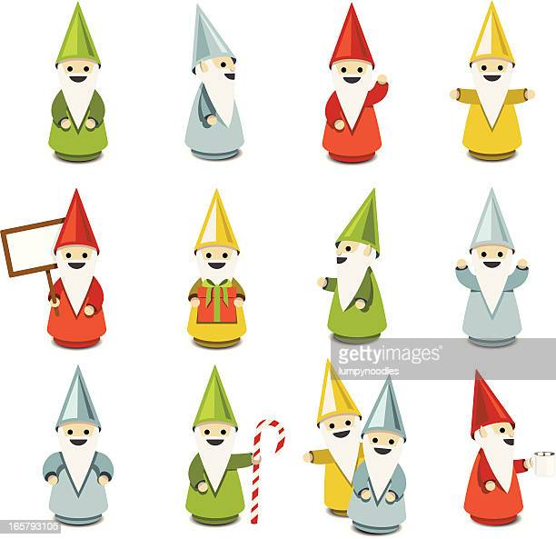 gnomes & elves - wizard stock illustrations, clip art, cartoons, & icons