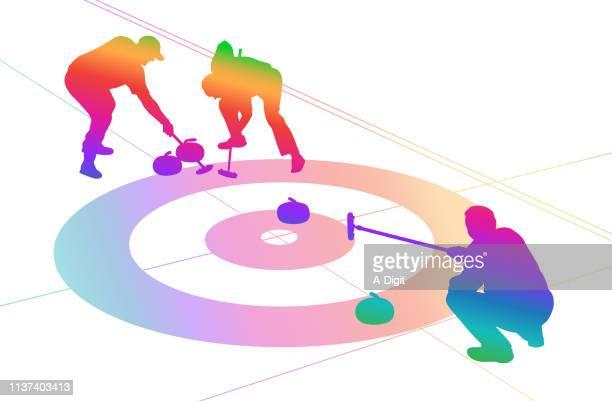 go curling rainbow - curling sport stock illustrations