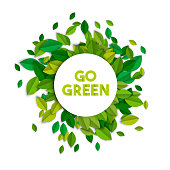 Go green ecology sign concept with tree leaves