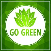 Go green icon green leaf vector illustration isolated.