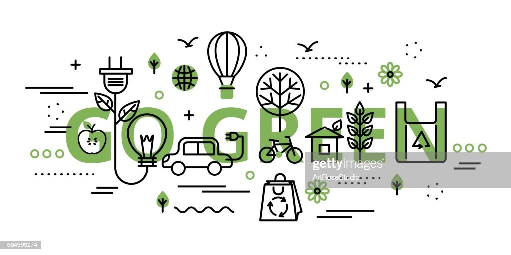 Go green infographic concept in greenery color