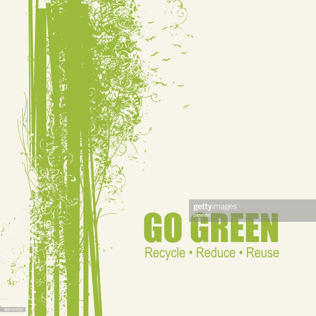 Go Green Recycle Reduce Reuse Eco Poster Concept