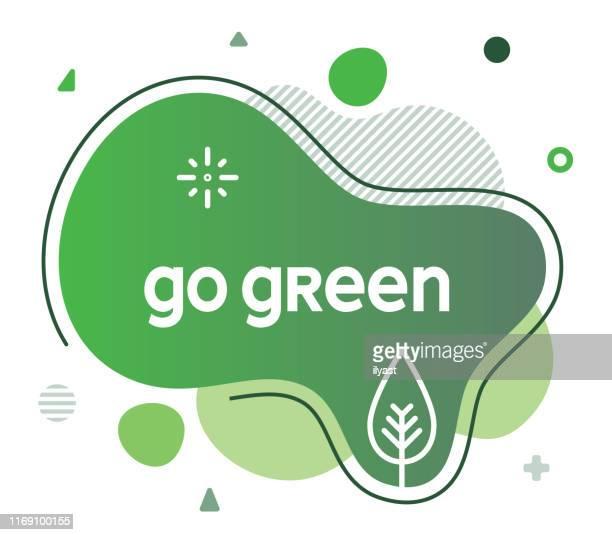 illustrations, cliparts, dessins animés et icônes de go green social media publicité bannière - questions environnementales