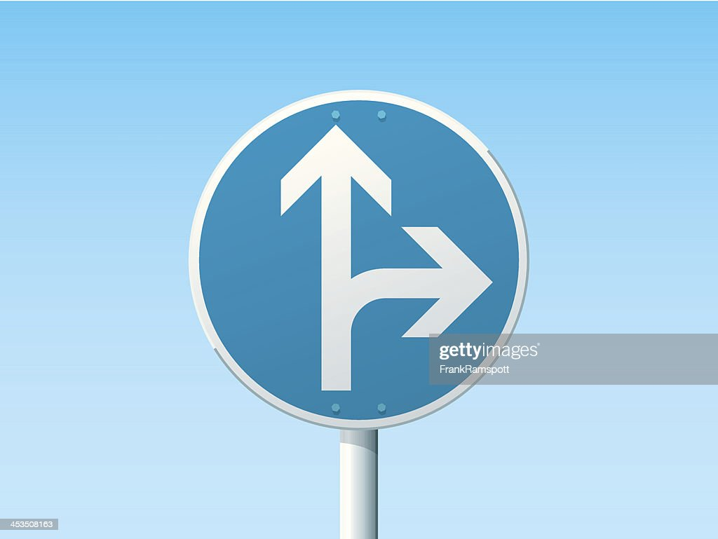 Go Straight Or Right German Road Sign Blue
