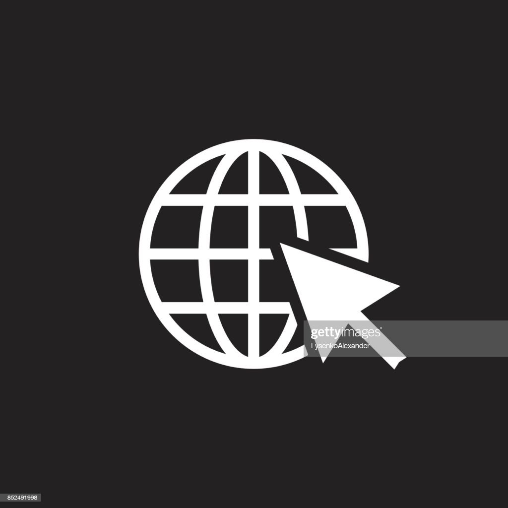 Go to web icon. Internet flat vector illustration for website on black background.