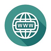 Go to web icon. Internet flat vector illustration for website on round background with shadow.