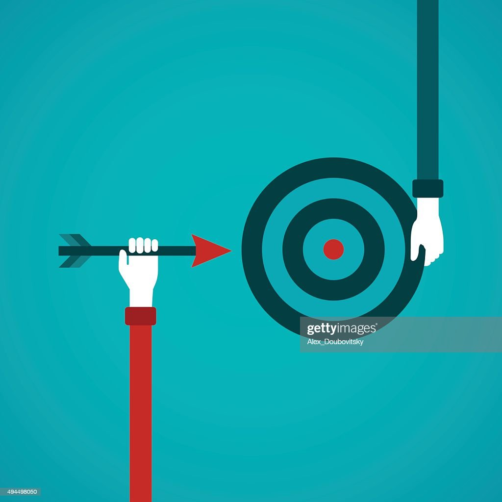 Goal achievement abstract vector concept in flat style