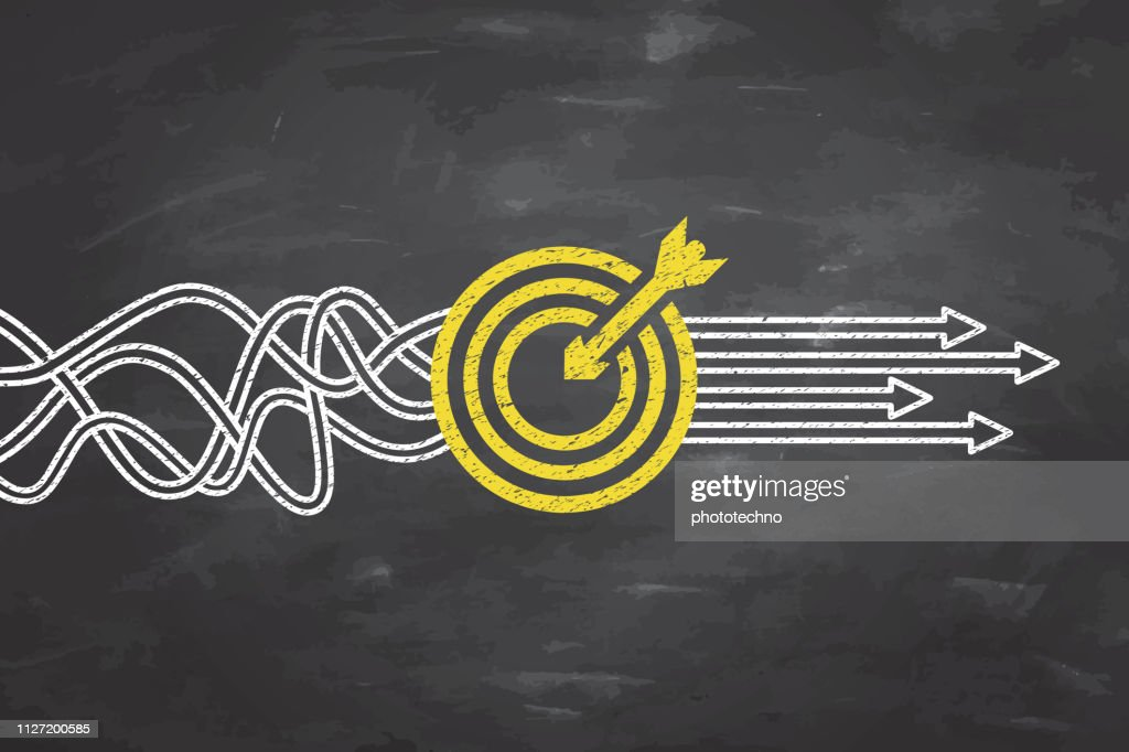 Ziel Lösungskonzepte auf Blackboard-Hintergrund : Stock-Illustration