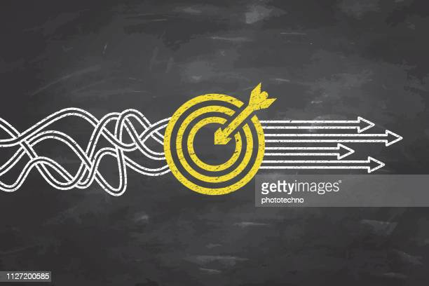 goal solution concepts on blackboard background - strategy stock illustrations