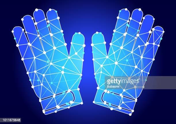 ilustraciones, imágenes clip art, dibujos animados e iconos de stock de portero guantes triángulo azul nodo vector patrón - guantes de portero
