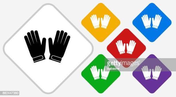 ilustraciones, imágenes clip art, dibujos animados e iconos de stock de portero guantes color diamante vector icono - guantes de portero