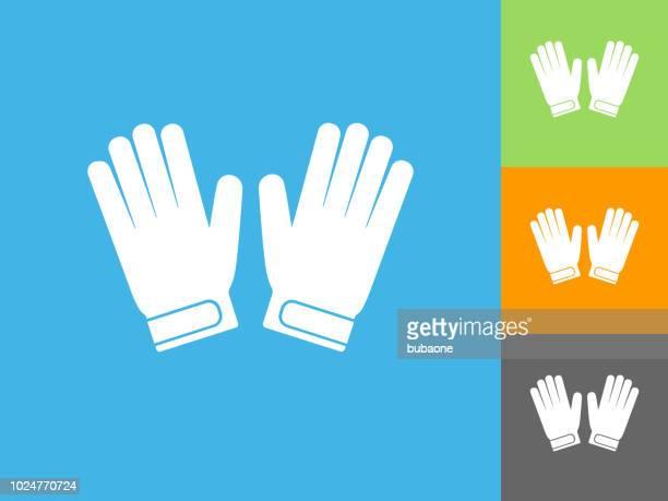 ilustraciones, imágenes clip art, dibujos animados e iconos de stock de guantes de portero icono plano sobre fondo azul - guantes de portero