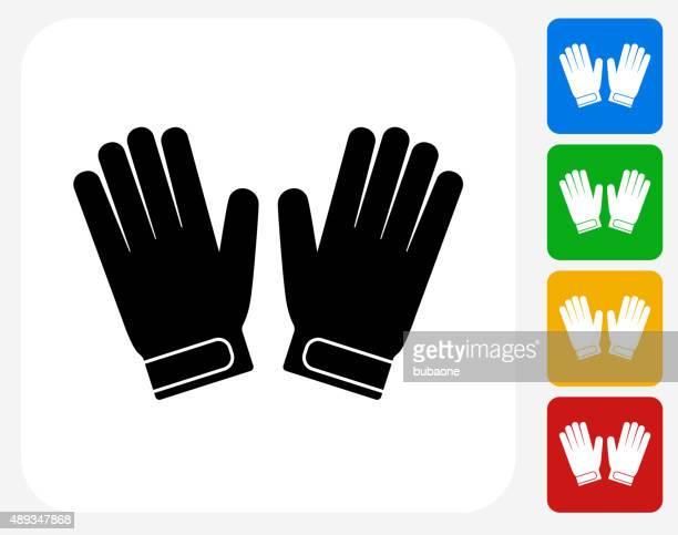 ilustraciones, imágenes clip art, dibujos animados e iconos de stock de guantes de portero de iconos planos de diseño gráfico - guantes de portero