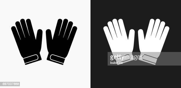 goalie gloves icon on black and white vector backgrounds - protective workwear stock illustrations, clip art, cartoons, & icons