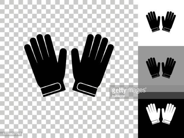 ilustraciones, imágenes clip art, dibujos animados e iconos de stock de goalie guantes icono en checkerboard transparent background - guantes de portero