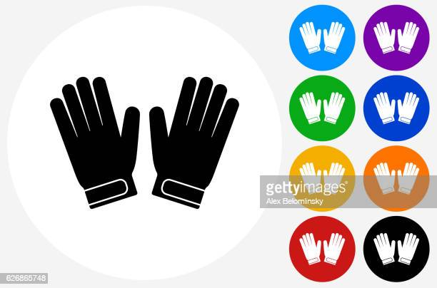 goalie gloves icon on flat color circle buttons - sports glove stock illustrations