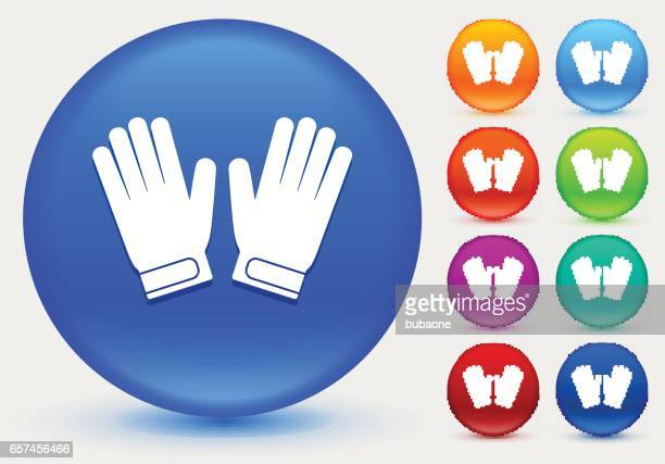 ilustraciones, imágenes clip art, dibujos animados e iconos de stock de portero guantes icono de círculo brillante color botones - guantes de portero