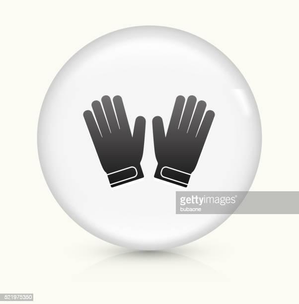 ilustraciones, imágenes clip art, dibujos animados e iconos de stock de guantes de portero icono sobre blanco, vector de redondo botón - guantes de portero