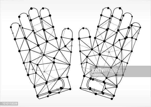 ilustraciones, imágenes clip art, dibujos animados e iconos de stock de portero guantes triángulo nodo negro y blanco patrón - guantes de portero