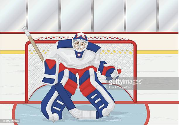 goalie with background - hockey stock illustrations, clip art, cartoons, & icons