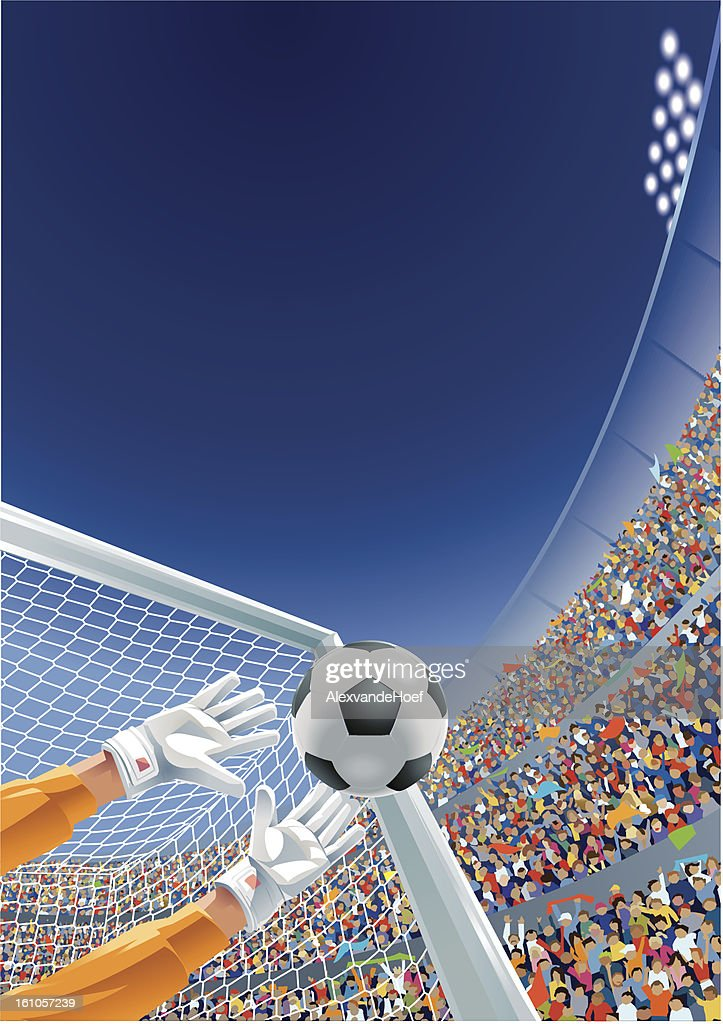 Goalkeeper Ball and Fans in Soccer Stadium