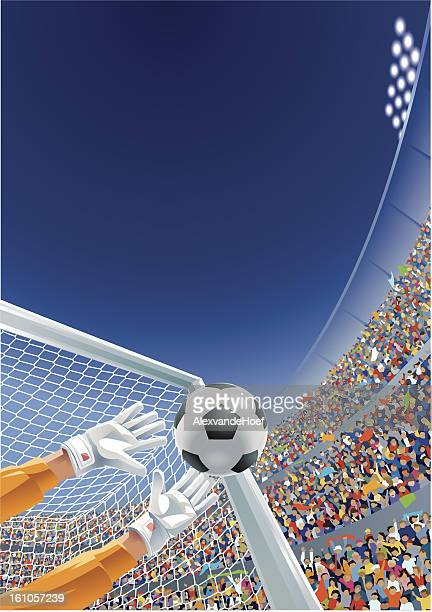 goalkeeper ball and fans in soccer stadium - goalie stock illustrations