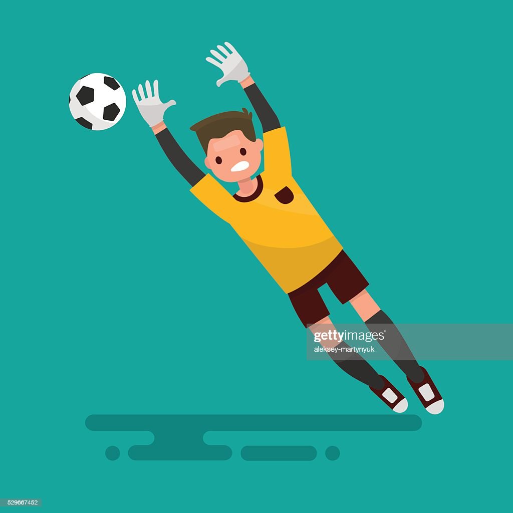 Goalkeeper catches the ball. Football. Vector illustration