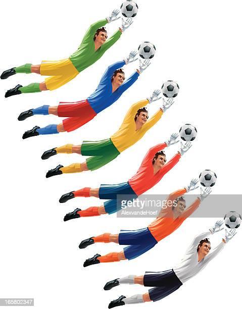 ilustraciones, imágenes clip art, dibujos animados e iconos de stock de portero disfruta de la bola - guantes de portero