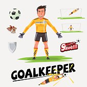 goalkeeper character design with icon set - vector