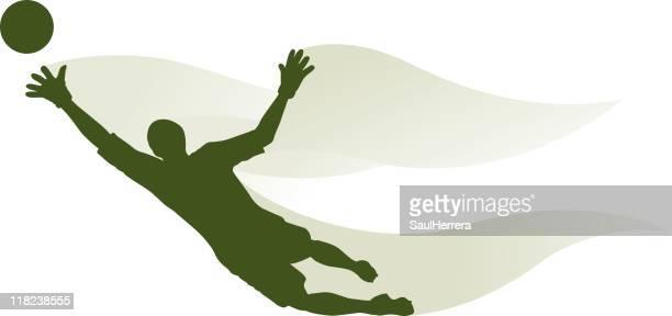 goalkeeper - goalie - heading the ball stock illustrations