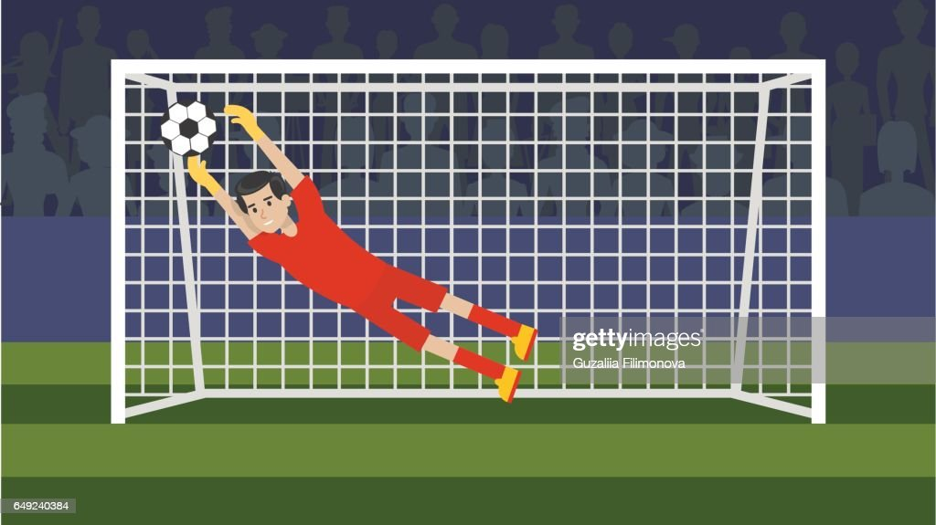 Goalkeeper in the gate on the white background.