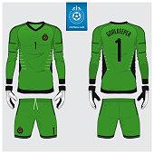 Goalkeeper jersey or soccer kit, long sleeve jersey, goalkeeper glove template design.