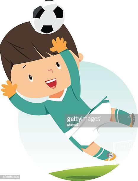 ilustrações de stock, clip art, desenhos animados e ícones de guarda-redes kid - futebol infantil