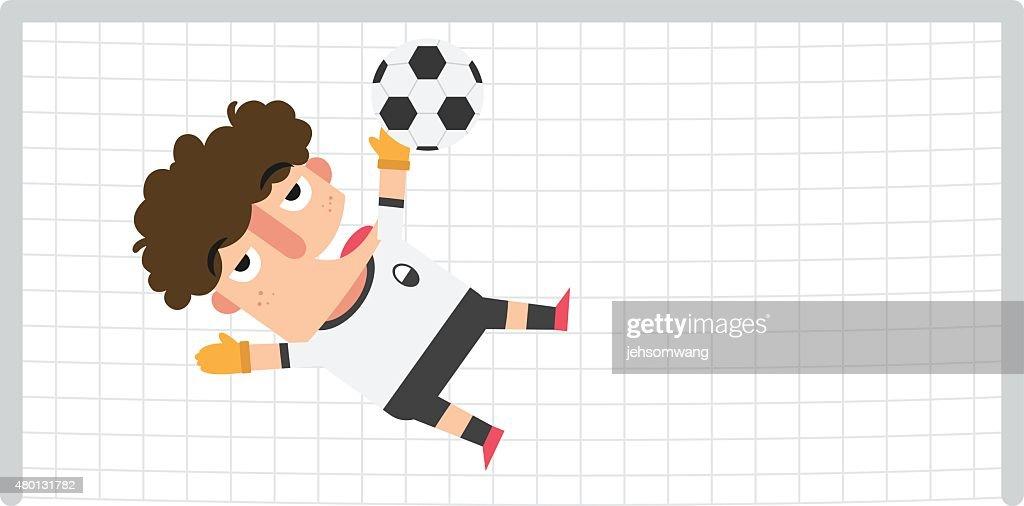 goalkeeper saving a soccer ball on a possible goal