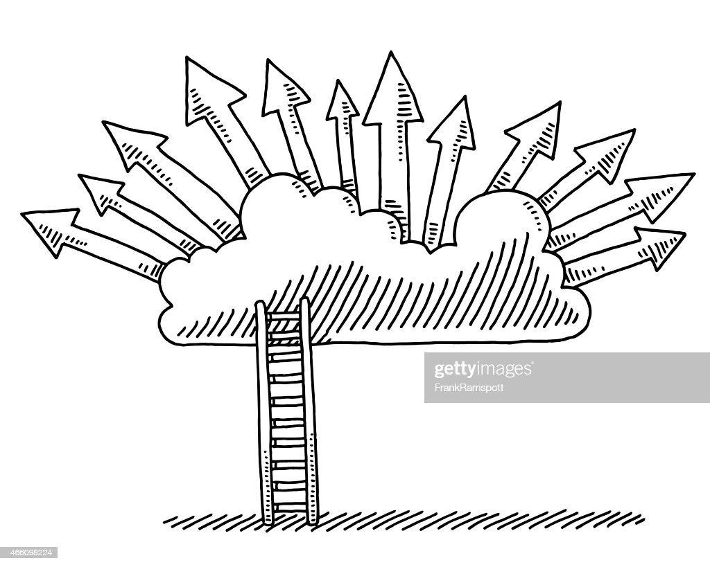 Conceito de nuvem objetivos de setas desenho de escada : Ilustração
