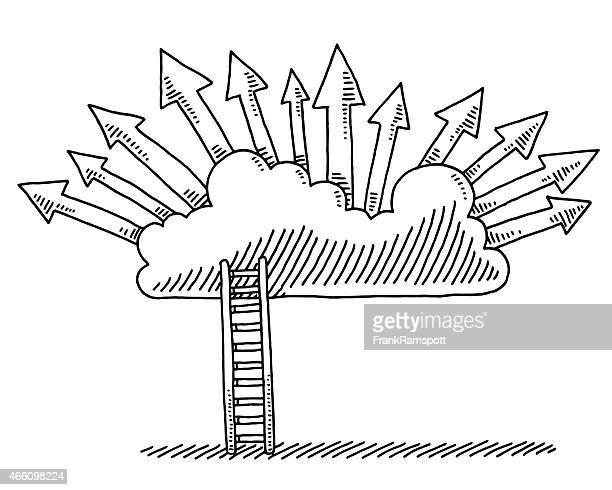 Ziele Konzept Leiter Cloud Pfeile zeichnen