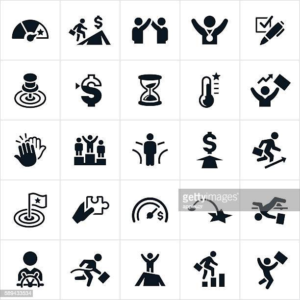 goals icons - competition stock illustrations