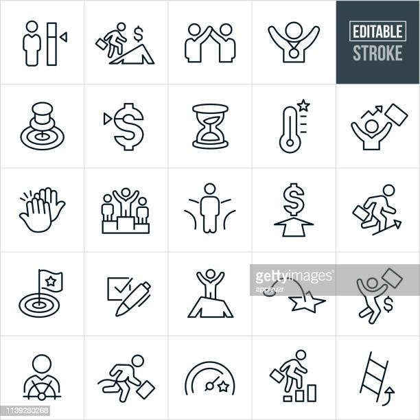 goals thin line icons - editable stroke - desire stock illustrations